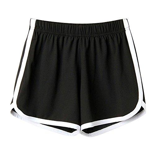 HCFKJ High Waist Shorts für Damen Teenager Mädchen Sommer für Mädchen Frauen Tasche Lose Hot Pants Retro-Streifen Casual Fit elastische Taille Tasche Shorts (M, Schwarz)
