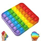 Juguete Antiestrés Sensorial de Explotar Burbujas Push Pop Bubble Fidget Toy Pop it Herramientas para aliviar el estrés y la ansiedad para niños y Adultos Cuadrado