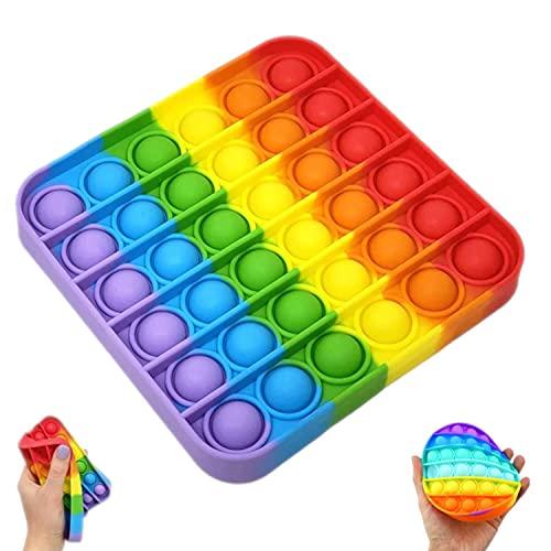 Juguete Antiestrés Pop It, Juguete Sensorial Fidget Toy para Niños Juguete Educativo, Push Pop Bubble Sensory Fidget, Juguete para Relajarse, Alivio del Estrés y la Ansiedad para Niños Cuadr