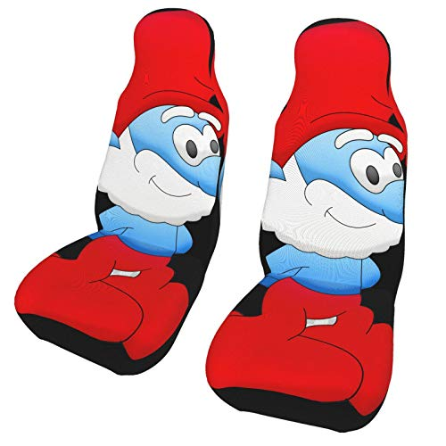 WUSO Brainy Smurfette Car Seat Covers 2-Piece Set,Vehicle Seat Protector Car Mat Covers, Fit Most Vehicle, Cars, Sedan, Truck, SUV