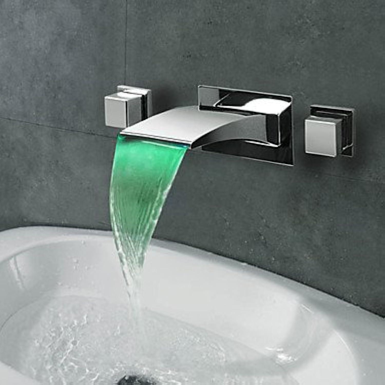 XBR der Schwarze Kupfer Fllt LED versteckt Wasserhahn in der Wand mit Drei LED - Hahn,c