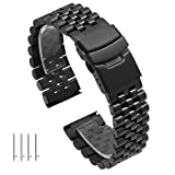 24mm Super 3D Engineer Quick Release Black Stainless Steel Watch Band, Screw Fixed Watch Strap with Double Lock Diver's Clasp, Polished&Brushed Metal Tapered Wrist Band