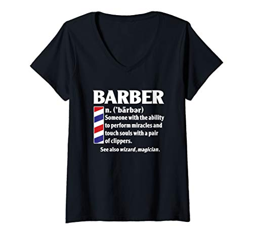 Womens Cool Best Barber Definition Gift - Miracles With Clippers V-Neck T-Shirt