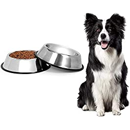 2 Stainless Steel Dog Bowls, Dog Feeding Bowls,Dog Cat Plate Bowls With Non-slip Rubber Bases,Small Pet Feeder Bowls And Water Bowls