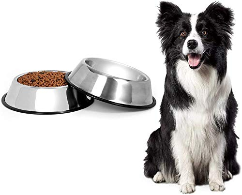 2 Stainless Steel Dog Bowls,large dog bowl,Dog Pet Feeder Bowls With Non-slip Rubber Bases, Dog Plate Bowls Water Bowls for Medium and Large Dogs(Sliver)