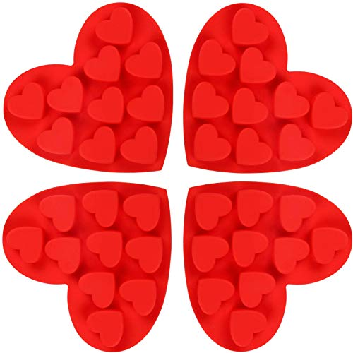 Lot de 3 moules en silicone pour chocolat, INTVN Forme de cœur antiadhésif Poêles de cuisine Pâtisserie bac à glaçons pour gâteaux Candy Gumdrop Jelly Muffin Cupcakes - Rouge