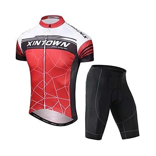 HRN Jersey da Ciclismo Abito da Uomo, Abbigliamento da Ciclismo Set A Manica Corta, Pantaloncini Imbottiti in Alto 3D, Camicia da Cyclette A Secco con Zip Full Zip,A6,3XL