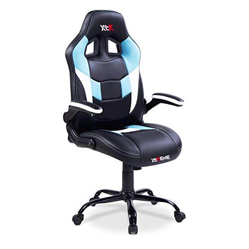 Adec - XTR X30, Silla de Oficina Gaming, Silla de despacho, Escritorio o Estudio, sillón Acabado en símil Piel Color Negro y Azul, Medidas: 68 cm (Ancho) x 64 cm (Fondo) x 119-127 cm (Alto)