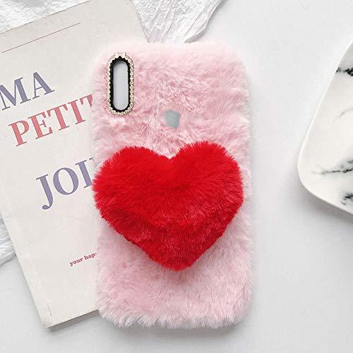 YHY Linda Funda Teléfono con Forma Corazón Felpa para Alcatel 1L 2021 Funda Teléfono Romántica Creativa Moda Rosado