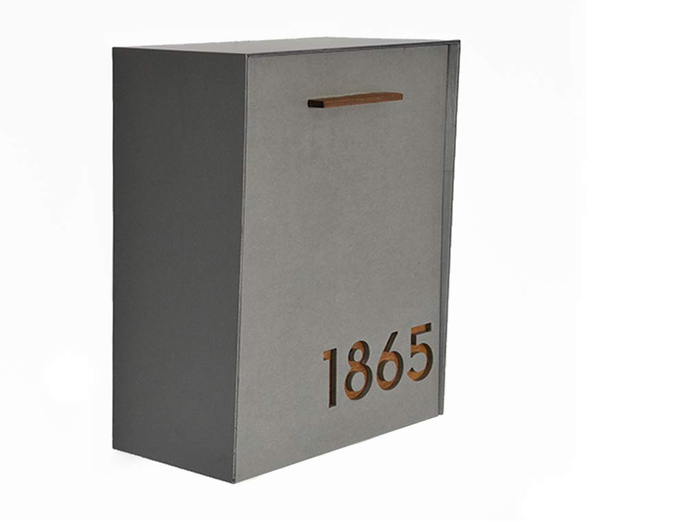 Max 61% OFF Modern Mailbox with Concrete Face Aluminum Body Popular product Dark Oak and Wo