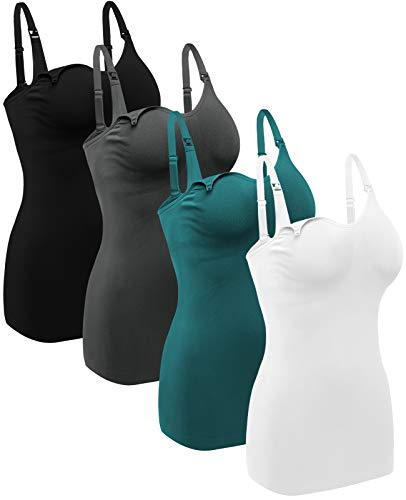 Women's Maternity Nursing Tank Tops with Built in Bra for Breastfeeding Shirt 4Pack Color Black Grey White Green Size M
