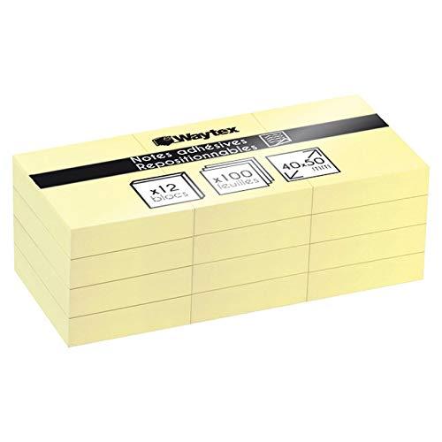Lote de 12 Bloc de notas reposicionable, amarillo, 100 hojas, 40 x 50 mm