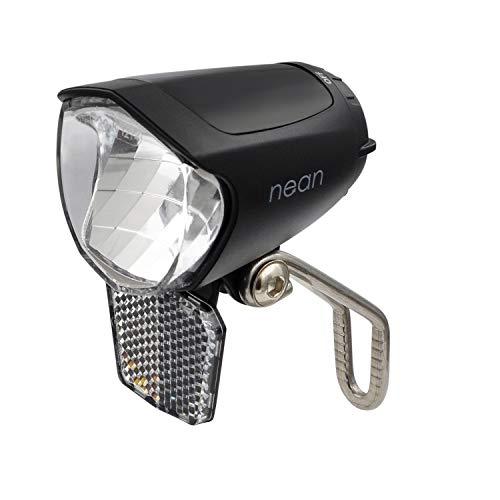 nean Fahrrad Dynamo-Frontleuchte Frontscheinwerfer mit Lichtautomatik, Standlicht, Reflektor und StVZO-Zulassung, 70 LUX, Aluminium-Kühlplatte, schwarz