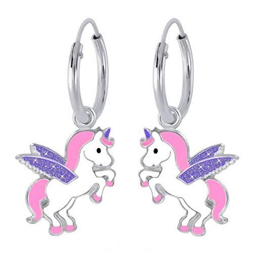 Kids Glitzer Flügel Einhorn Creolen 925 Echt Silber Pferde Kinder Mädchen Ohrringe (Motiv 2)