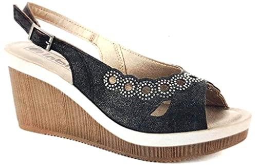 sandali sandali donna INBLU SANDALI SCALZATI CON STRASS donna mod. AS-25 ZEPPA (NERO