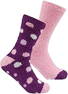 Karen Neuburger Ladies GRIPPER SOLE DEER Slipper Socks Grey NEW