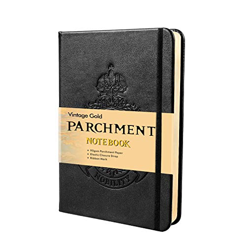 Shemist Blank Hardcover Executive Notebooks, Natural Parchment Paper, Acid-Free and Lignin-Free Material Allows for Paper to be Archived, Leather Journal with Elastic Closure, (5 x 7 Inches), Black
