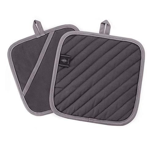 BONTHEE 20CM Topflappen Waschbare Schutzlappen zum Kochen Backen Küchenzubehör - Grau