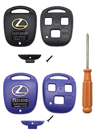 Replacement Key Fob Cover Case fits for Lexus ES GS GX IS LS LX RX SC ES 300 ES330 RX330 RX350 IS300 GX470 LX470 GX300 RX300 Remote Key Fob Shell With Screw Driver (Black+Blue)