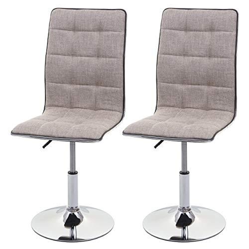 Mendler Set 2X sedie HWC-C41 Design Moderno Tessuto Sala Pranzo Avorio Grigio