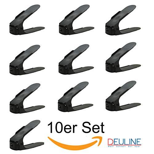 Deuline 10 x Verstellbarer Schuhregal Schuhstapler schuhaufbewahrung Schuhorganizer Schuhhalter Farbe: Schwarz 521117