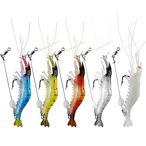 WANBY Luminous Silicone Soft Shrimp Lure Baits Set Kit Swimbait Fishing Lures with Hook Fishing Tackle for Freshwater Saltwater