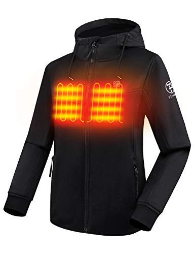 PTAHDUS Women's Heated Hoodie with 7.4V Battery, Heated Sweatshirt with Hood, with Fleece Lining (Black, Small)
