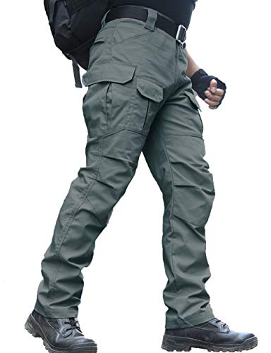 zuoxiangru Wasserfeste Herren Hose Relaxed Fit Tactical Combat Army Cargo Arbeitshose mit Mehrfachtasche (#56 Graugrün, Tag XL)