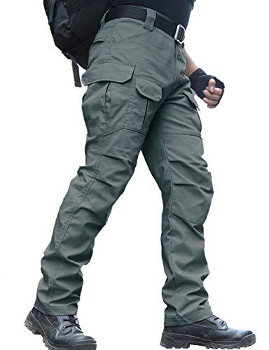zuoxiangru Wasserfeste Herren Hose Relaxed Fit Tactical Combat Army Cargo Arbeitshose mit Mehrfachtasche (#56 Graugrün, Tag M)