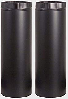 """2~ Stove Pipe 7"""" Dia. x 24"""" Long Black Stove Pipe 24 Gauge Single Wall Steel Construction Building Supplies"""
