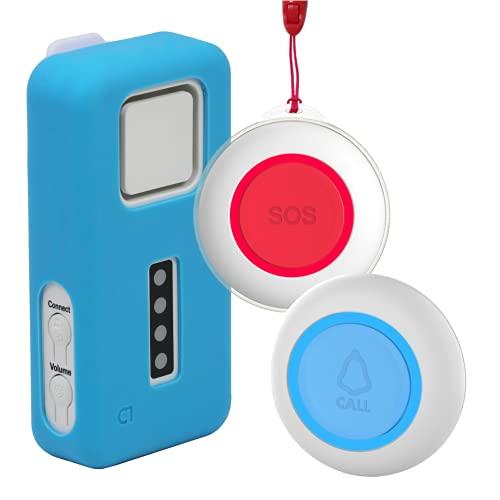 CruxCare C1 Pflegerruf-Set - Pflegersystem - Hausnotrufsystem - Notrufknopf für Senioren - 1 Empfänger und 2 Ruftasten - inklusive Batterien