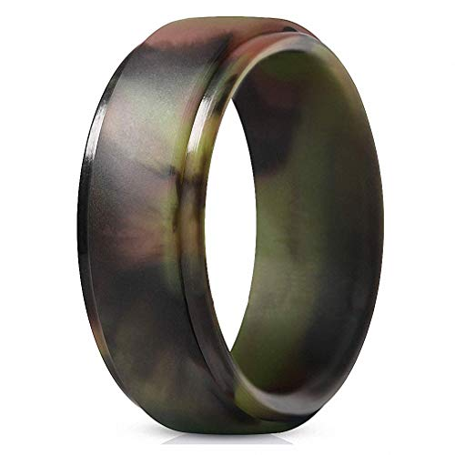 Ronliy 8 mm Silicone Finger Ring Flexible Hypoallergenic Crossfit Army Band Rubber Wedding Engagement Ring for Men Women Camouflage 13