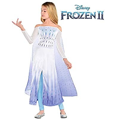 Party City Disney Frozen 2 Epilogue Elsa Halloween Costume for Kids, Medium, Includes Dress, Leggings, For Pretend Play