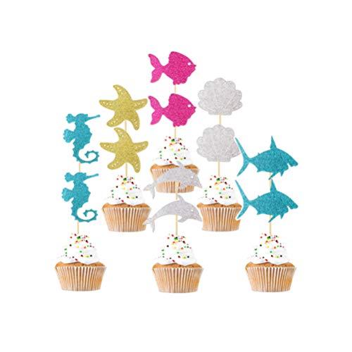 SUPVOX 12 Pcs Cake Toppers Glitter Marine Lives Cake Picks Fruit Picks Dessert Toppers Wedding Kids Birthday Party Favors