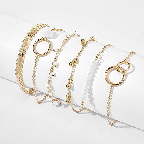 TIANTIAN 6 Pieces Bracelet Set for Women Girls Adjustable Upper Arm Bangle Set Leaf Flower Bells Minimalist Refreshing Handmade Daily Jewelry Gift