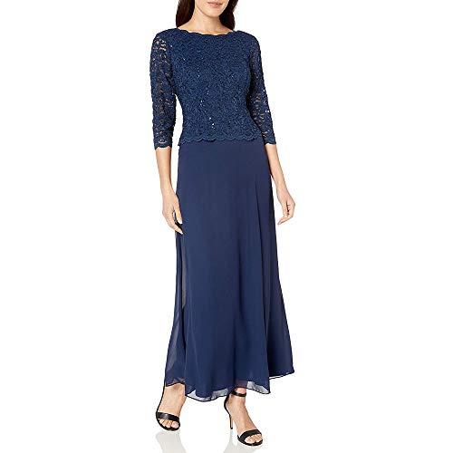 Alex Evenings Women's Long Mock Dress with Full Skirt (Petite and Regular Sizes), Navy, 16P