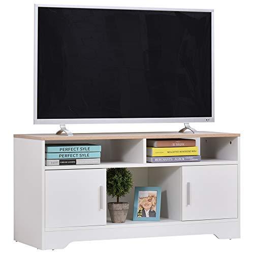 HOMCOM Armario para Televisor Mueble Auxiliar para TV con Gran Espacio de Almacenaje Estantes Abiertos Administración de Cables Diseño Clásico 105x40x52 cm Blanco