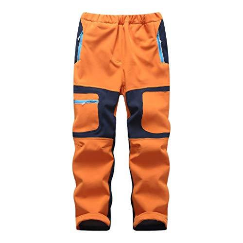 linlon Kids Boy's Youth Fleece Hiking Pants Waterproof Softshell Warm Windbreaker Snow Pants Insulated Trousers,Orange,XXXL(18)