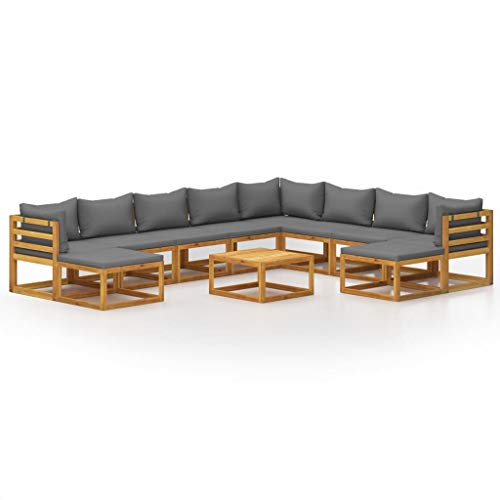 vidaXL Madera Maciza de Acacia Muebles de Jardín 11 Piezas Cojines Mobiliario Hogar Exterior Terraza Sofá Mesa Asiento Suave con Respaldo
