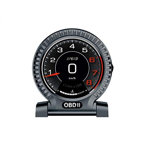 LFJG Car HUD Head Up Display, Muestra De Datos De Conducción OBD, Velocidad Actual, Velocidad del Motor, Pantalla De Consumo De Combustible, Etc, hasta 16 Funciones,Gris