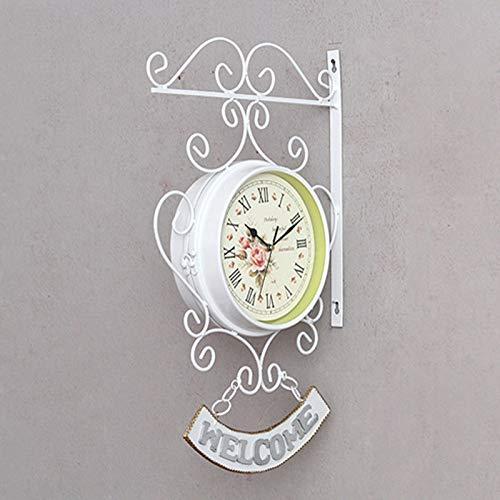 LSZA Wanduhr Aufkleber Cockerel Bell Outdoor Doppelseitenuhr Garden Wall Outside Bracket Station Wanduhren von Home & Garden, Weiß