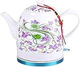 Leilims Teteras de cerámica eléctrica hervidor inalámbrico Agua de la Tetera, Tetera Retro-1.2L Jug rápido (Color : A)