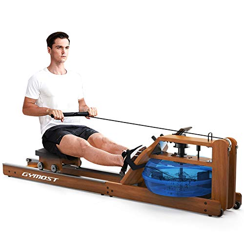 Rowing Machine for Home Use, Oak Solid Wood with LCD Monitor...