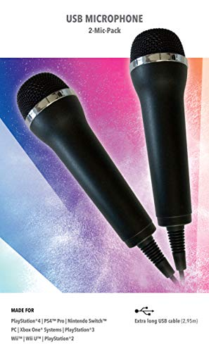 Mikrofon für Karaoke Games (Lets Sing, Voice of Germany, SingStar etc.) für PlayStation (PS3, PS4, PS4 Pro), Nintendo (Switch, Wii U, Wii), XBOX One (OneX, OneS) + PC- 2er Set universal USB Mikrofon