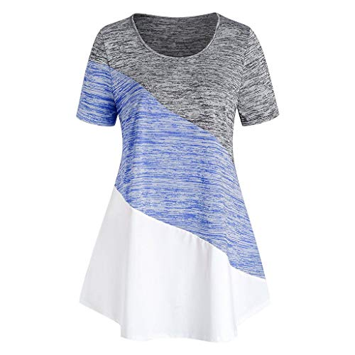 Sale!! Toimothcn Women Plus Size Tunic Tops Short Sleeve O-Neck Striped Printed Colorblock Tee Shirts(Blue,4X-Large)