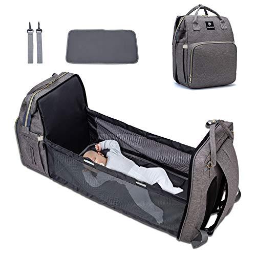 EasySMX Bolsa de Pañales Portátil, Witter Mochila para Cama de Bebé Plegable...