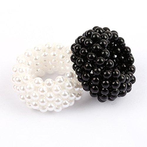 AAHB Haarschmuck Haargummi Bänder aus Perlen Haarband 2er Set Schwarz Weiss, 2 Stück