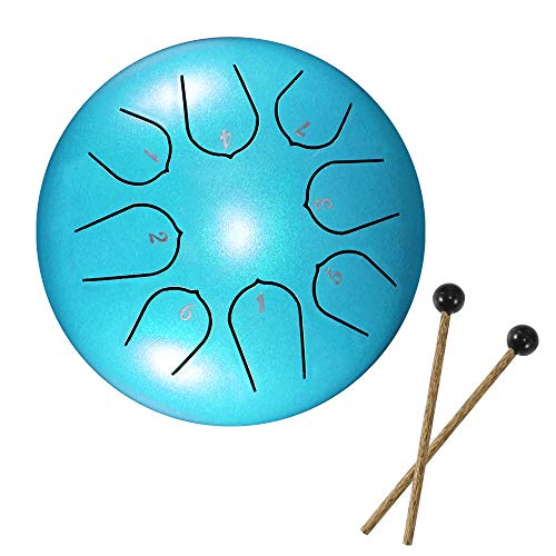 Viitech Lotus Steel Tongue Drum - 8 Tune 6 Zoll Hand Pan Drum Tank Hang Drum Percussion Instrument mit Drumsticks, Tragetasche, Note Sticks 4 Finger Picks für Yoga Practice Sound Healing
