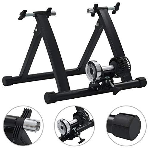 """vidaXL Rodillo de Entrenamiento de Acero Fitness Musculación Cardio Bicicletas de Ejercicio Soportes Ciclismo Interiores Gimnasio 26""""-28"""" Negro"""