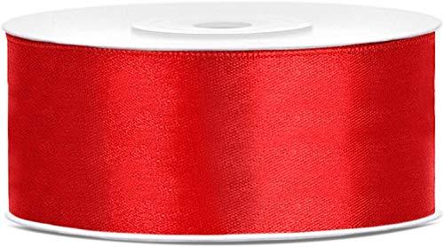 Lage - Cinta Satinada, Ideal para bomboneras y Regalos, Rollo de 25 Metros, Grosor 2,5 cm, Color Rojo